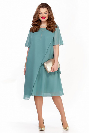 Платье TEZA 1241 бирюзовые тона фото