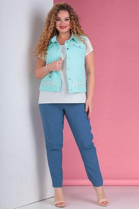Комплект брючный Тэнси 287 голубой с молочным фото