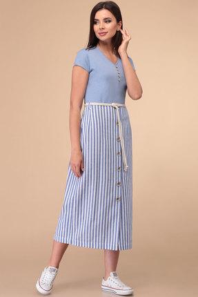 Платье Линия-Л Б-1813 голубой с белым фото