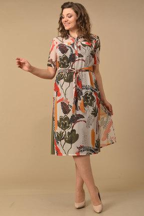 Комплект плательный Lady Style Classic 1861/2 хаки с цветами фото
