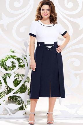 Платье Mira Fashion 4804 тёмно-синий+белый