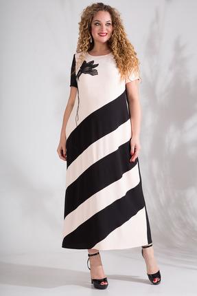Платье Лилиана 826 пудра с черным фото