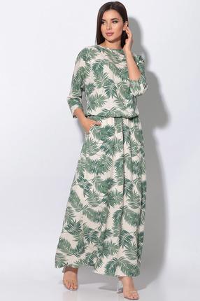 Платье LeNata 11130 зеленые листья на бежевом