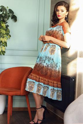 Платье Мода-Юрс 2557 бирюза+терракот