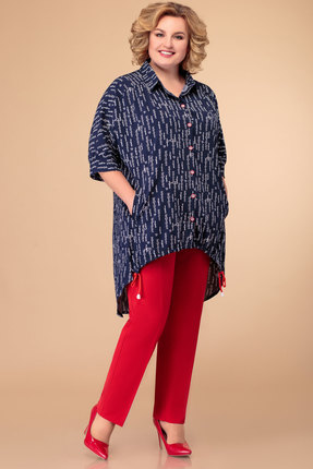 Комплект брючный Svetlana Style 1396 синий с красным фото