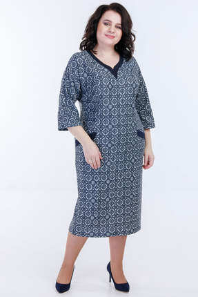 Платье Belinga 1088 синие тона фото