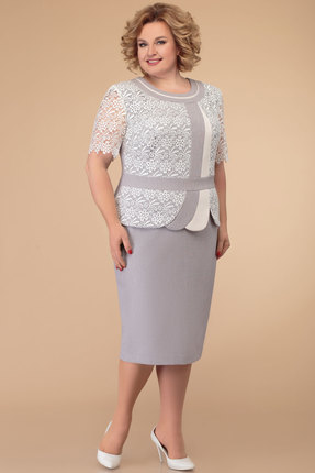 Платье Svetlana Style 1075 серый с белым