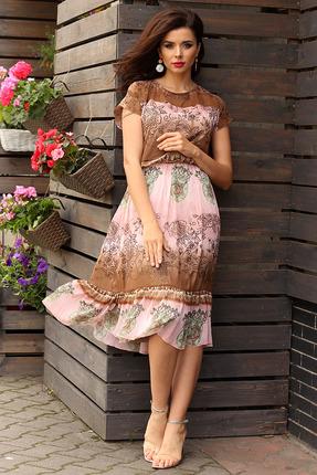 Платье Мода-Юрс 2557 розовый с коричневым