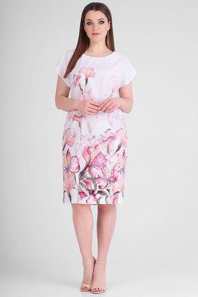 Платье SWALLOW 262 молочный с розовым фото