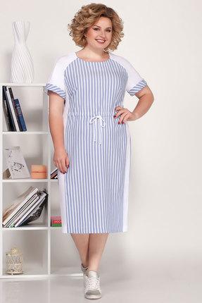 Платье Ivelta plus 1703 голубой с молочным фото
