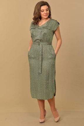 Платье Lady Style Classic 1631/1 хаки с цветами