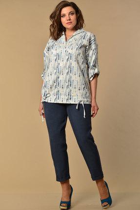 Комплект брючный Lady Style Classic 2058/2 синий с серым фото