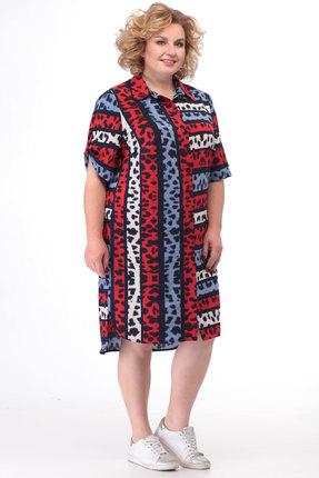 Платье KetisBel 1507 красный с синим фото