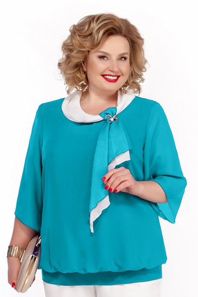 Блузка Pretty 380 бирюзовые тона