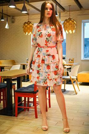 Платье Alani 1172 розовые тона с цветами