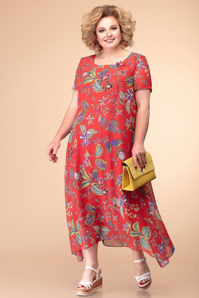 Платье Romanovich style 1-1332 красный  с синим