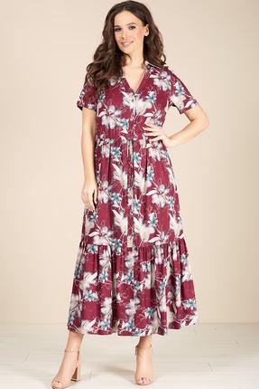 Платье Teffi style 1412 бордовые тона фото