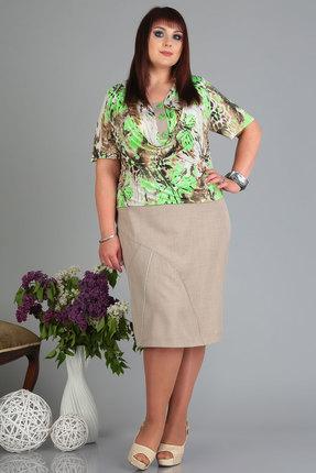 Платье Algranda 3514 беж с салатовым