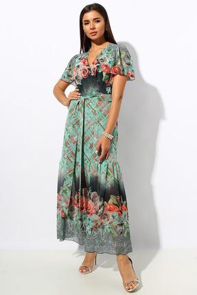 Платье Миа Мода 1028-5 салатовые тона