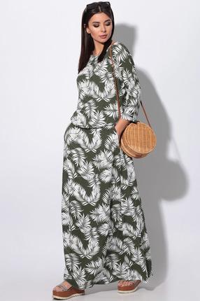Платье LeNata 11130 белые листья на зеленом
