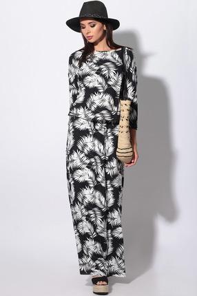Платье LeNata 11130 белые листья на черном