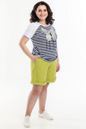Комплект с шортами Belinga 2065 сине-белый с салатовым фото