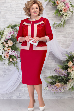 Платье Ninele 5784 красный+пудра