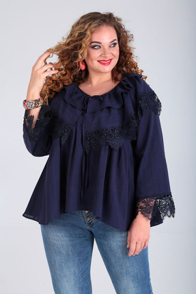 Блузка Таир-Гранд 62380 полоска-синий фото