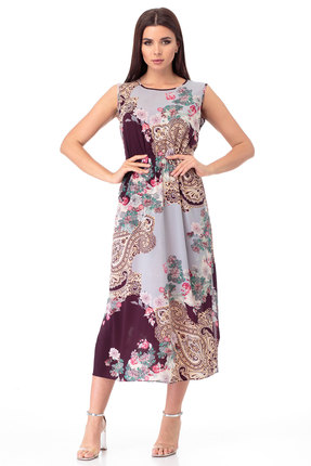 Платье Anelli 724 голубой с коричневым фото