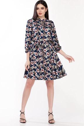 Платье Emilia А-498/5 синий в цветы