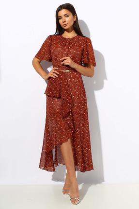 Платье Миа Мода 1151 красный с терракотом фото