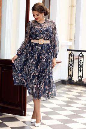 Платье Мода-Юрс 2567 синий с бежевым