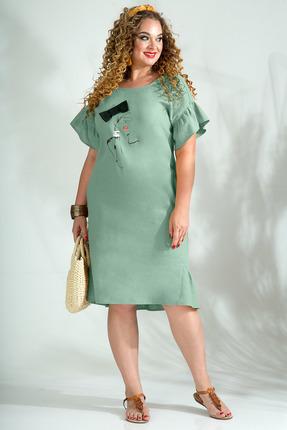 Платье Лилиана 844 серо-зеленый