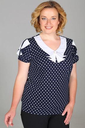 Блузка Медея и К 2024 синий с белым фото