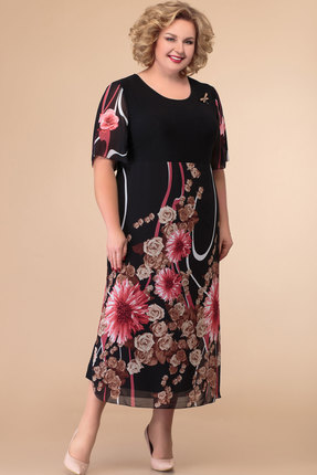Платье Svetlana Style 1427 черный с цветами