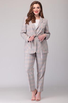 Комплект брючный Denissa Fashion 1162 серый в клетку фото
