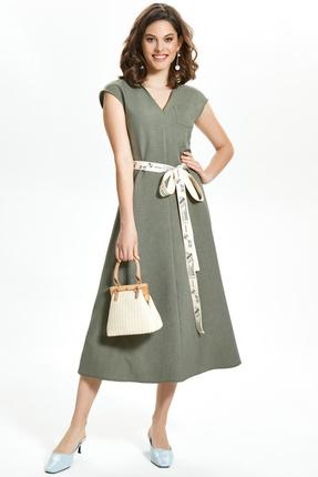 Платье TEZA 1349 зеленые тона фото