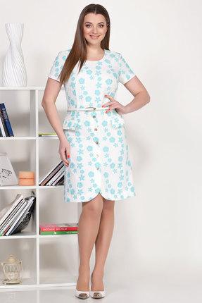 Платье Ivelta plus 1707 белый с бирюзой фото