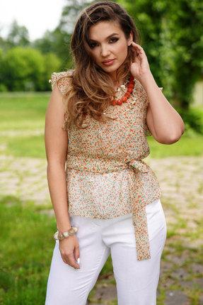 Блузка ЛЮШе 2403 бежевый с цветами фото