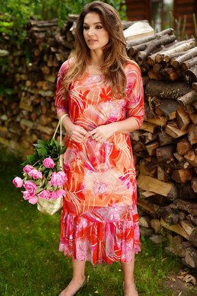 Платье ЛЮШе 2406 красно-розовые тона фото