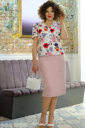 Комплект юбочный Erika Style 1022 пудра с белым