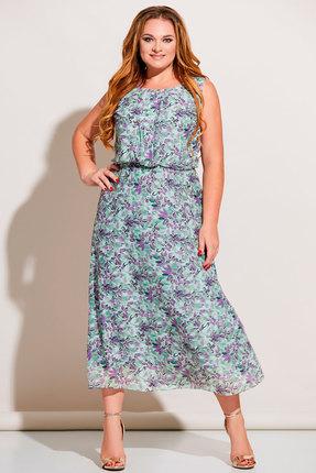 Платье Olga Style с674 мятный с фиолетовым