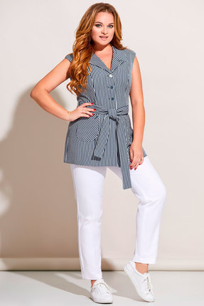 Комплект брючный Olga Style с671 синий с молочным фото