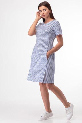 Платье Anelli 853 голубой с серым