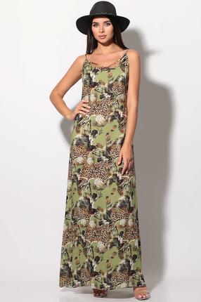 Платье LeNata 11139 зеленые тона сафари