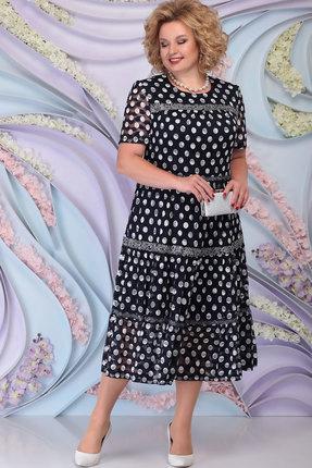 Платье Ninele 7276 тёмно-синий+горох