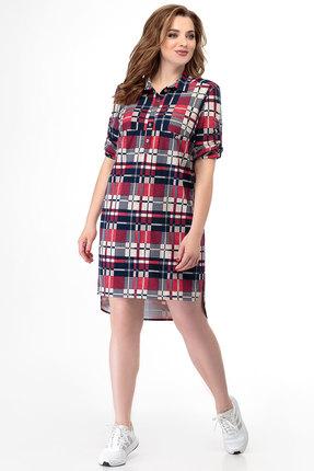 Платье БелЭкспози 1138 синий с красным