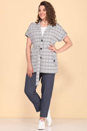 Комплект брючный Lady Style Classic 2060/2 серый с джинсовым