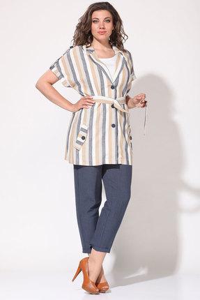 Комплект брючный Lady Style Classic 2060/1 мультиколор с джинсовым