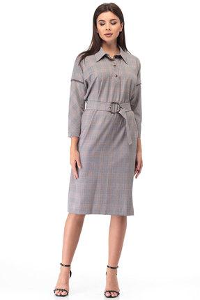 Платье Anelli 633 серо-бордовые тона